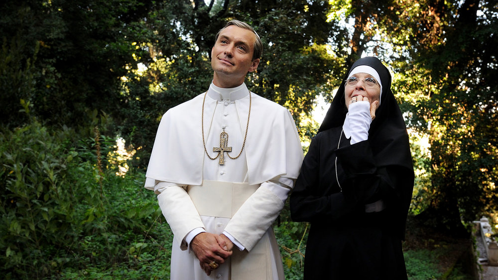 Lenny Belardo (Jude Law) and Sister Mary (Diane Keaton) in the Vatican gardens.