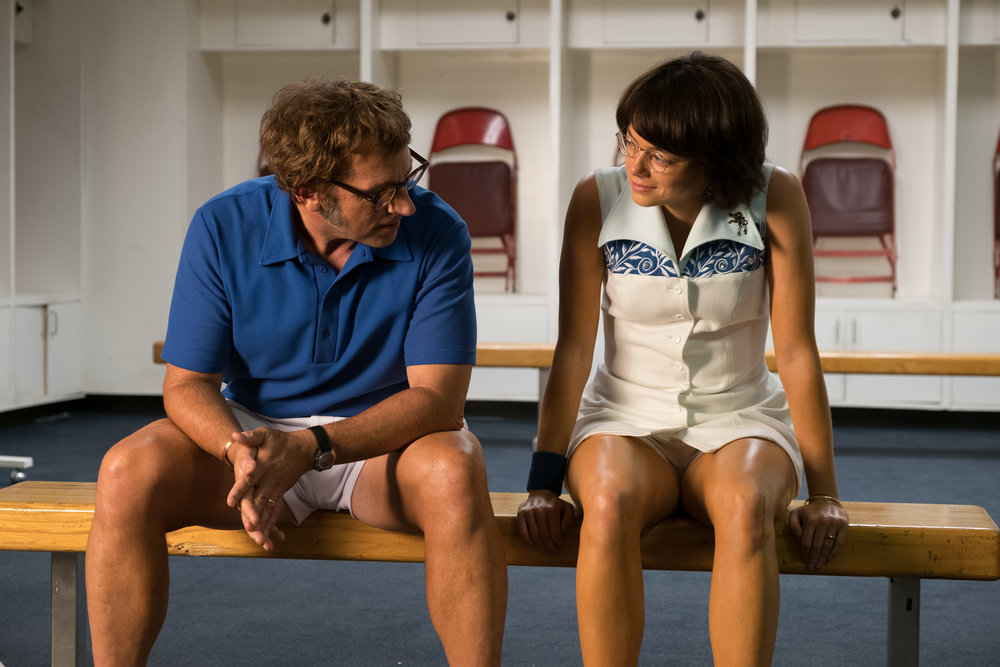 Steve Carell as Bobby Riggs and   Emma Stone as Billie Jean King.