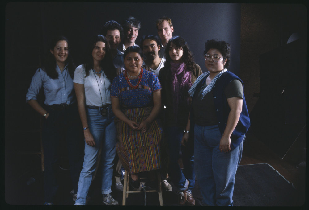 Rigoberta Menchú and crew of When the Mountains Tremble in 1983. Pamela Yates just to the left of Rigoberta. Photo by skylight.is.