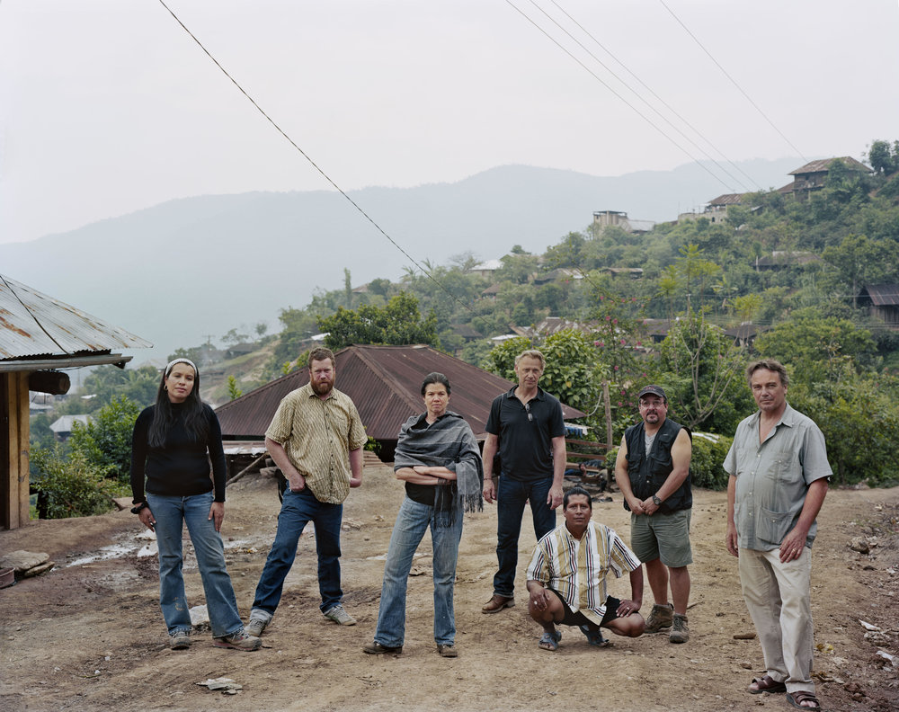 The crew of Granito: How to Nail a Dictator in the Guatemalan highland town of ILOM, Guatemala 2010. Photo by Dana Lixenberg.