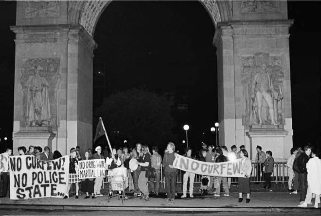 Demonstration in Washington Square Park in 1988. (Photo taken by/courtesy of Ai Weiwei)