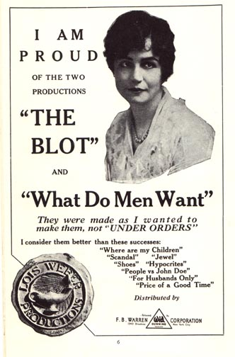 A promotional item for Lois Weber's  The Blot  (1921).