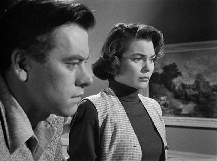 Elements of noir: Burden and Anne Stanton (Joanne Dru) at Burden's Landing.