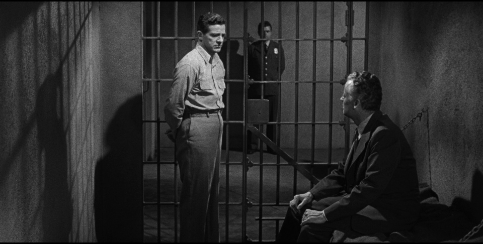 The game seems up for Tom Garrett (Dana Andrews, with Shepperd Strudwick) when his get-out-of-jail card is burned in  Beyond a Reasonable Doubt.