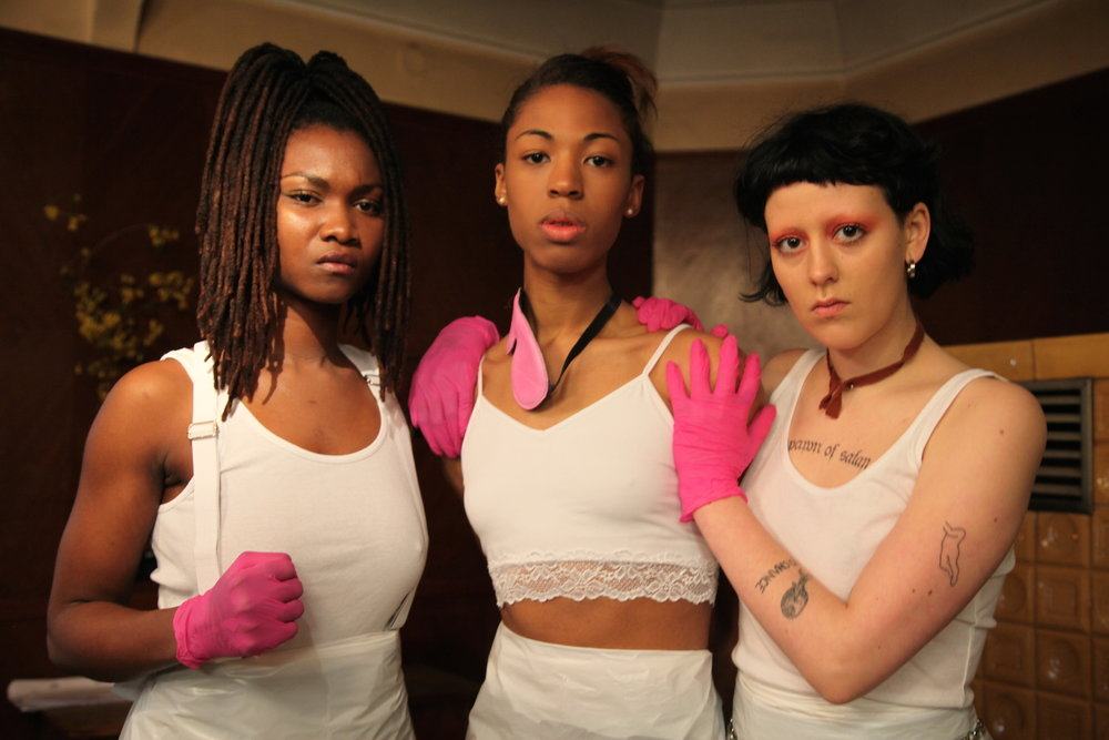 Isolde (Kita Updike, middle) surrounded by pals in  The Misandrists.