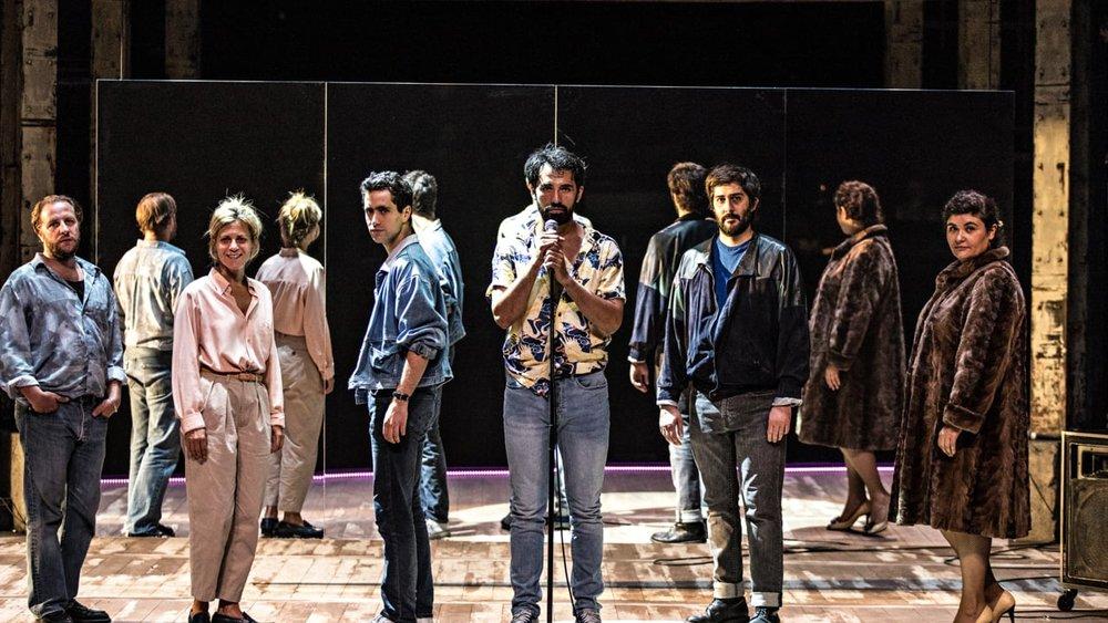 The cast of  Les Idoles : Jean-Charles Clichet (Serge Daney); Marina Foïs (Hervé Guibert); Youssouf Abi-Ayad (Bernard-Marie Koltès); Harrison Arévalo (Cyril Collard); Julien Honoré (Jean-Luc Lagarce); Marlène Saldana (Jacques Demy).