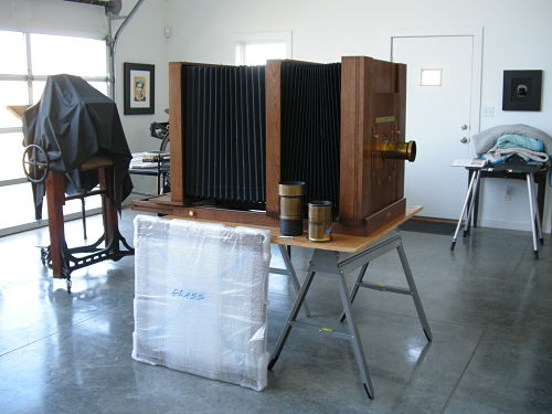 custom-made collodion wet-plate camera