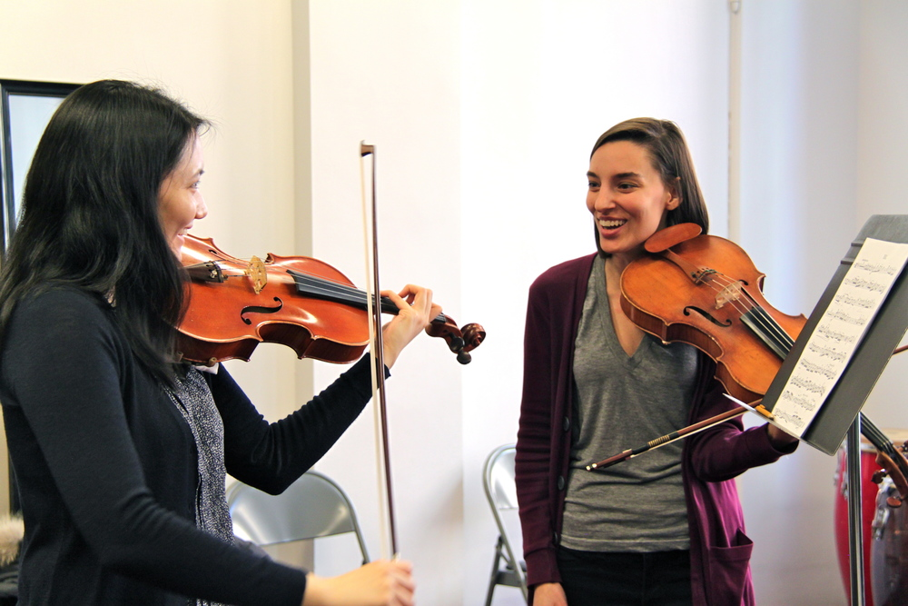 Teacher Nora Krohn in a viola or violin lesson at the Sunnyside, Queens New York String Studio
