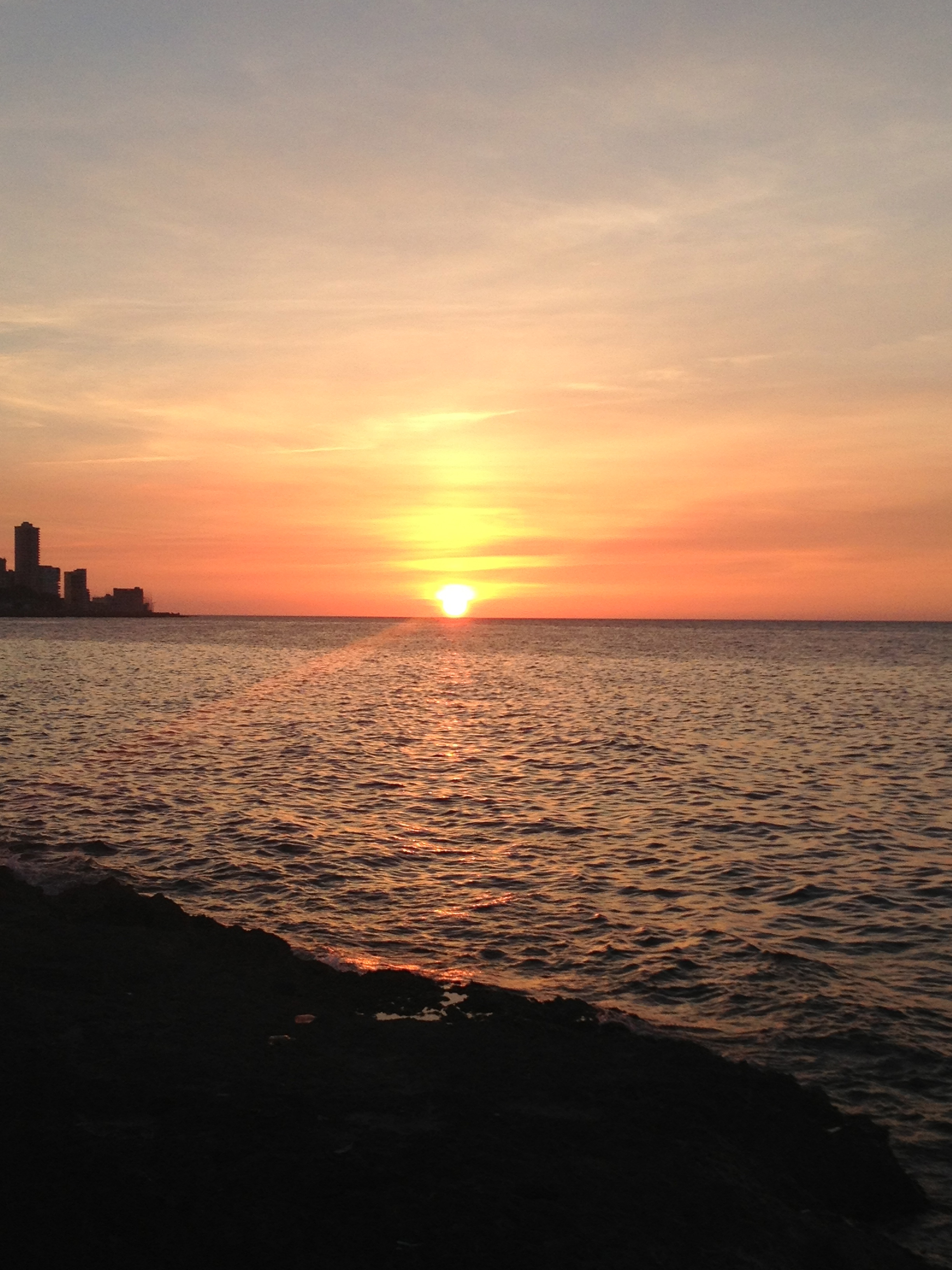 Sunset from the Malecón, La Habana, Cuba.