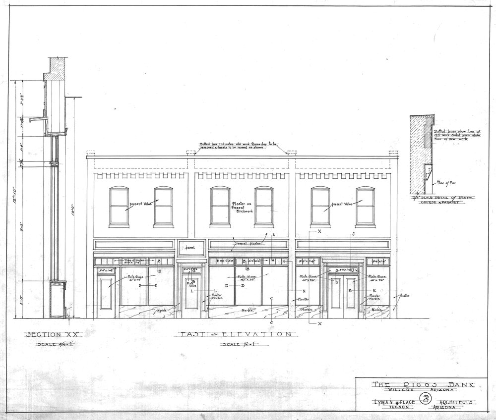 RIGGS BANK BUILDING DRAWING OF THE MALEY STREET ELEVATION