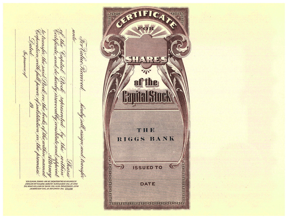 RIGGS BANK STOCK CERTIFICATE NUMBER 182     BACK