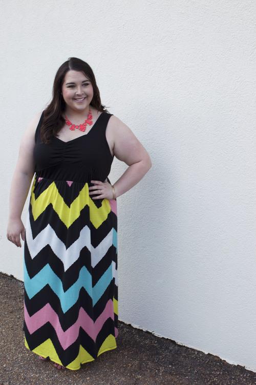 Multi Colored Chevron Maxi Dress The Curvy Curator