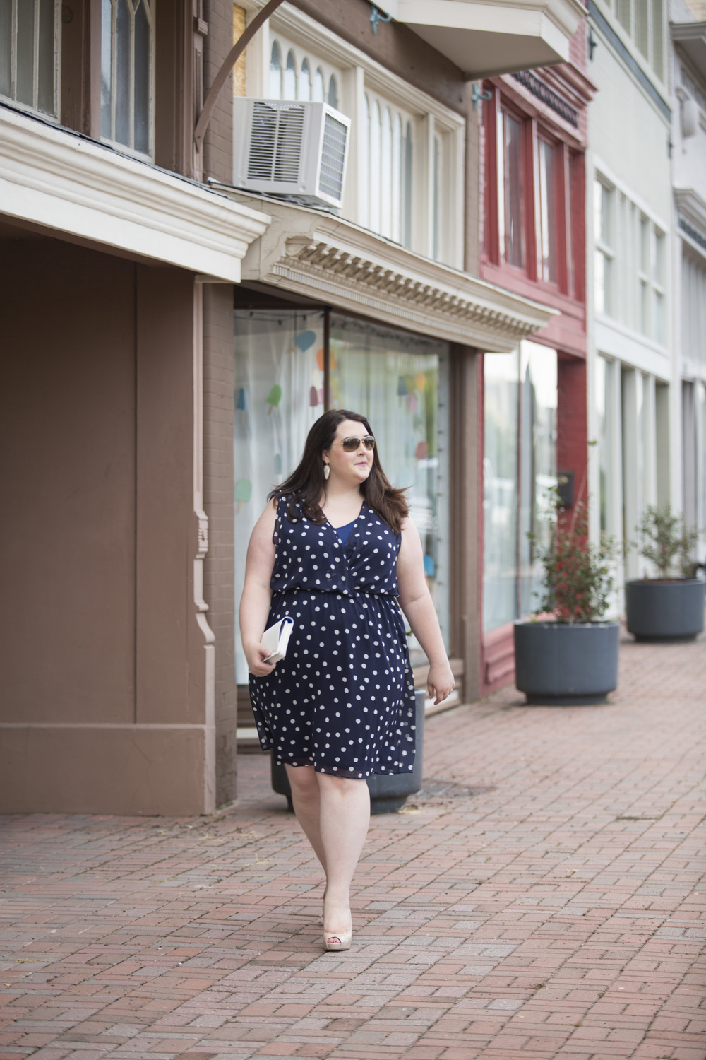 Plus Size Street Style Navy Polka Dot Dress Wedding Guest 10.jpg