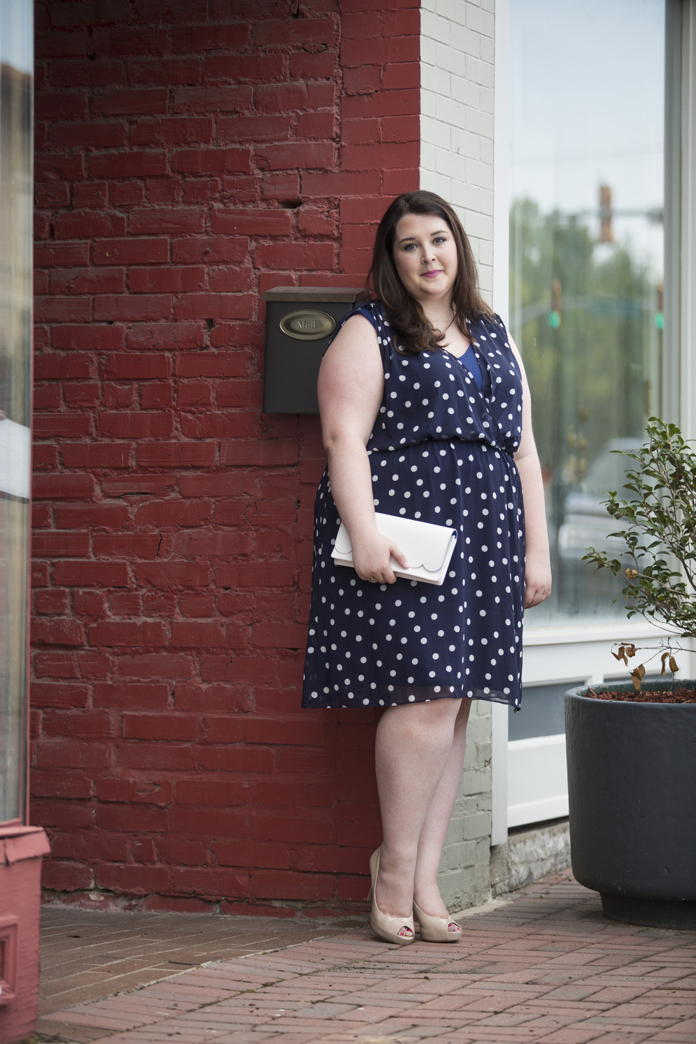 Plus Size Street Style Navy Polka Dot Dress Wedding Guest 1.jpg