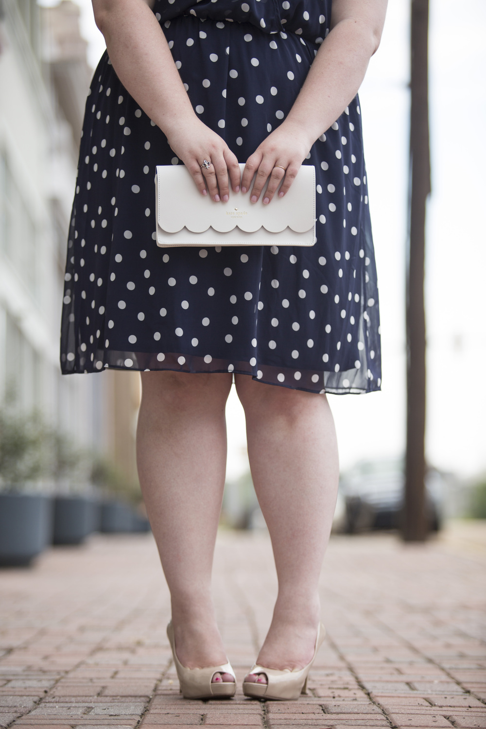 Plus Size Street Style Navy Polka Dot Dress Wedding Guest 6.jpg