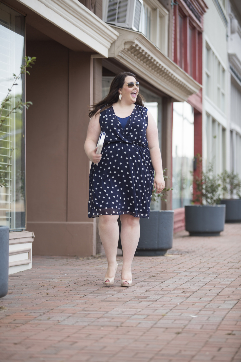 Plus Size Street Style Navy Polka Dot Dress Wedding Guest 9.jpg