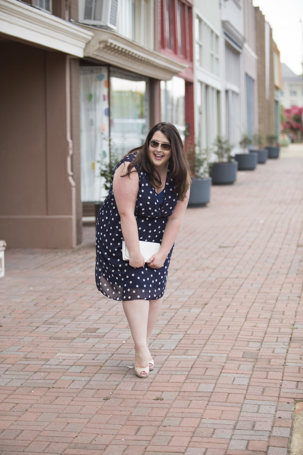 Plus Size Street Style Navy Polka Dot Dress Wedding Guest 4.jpg