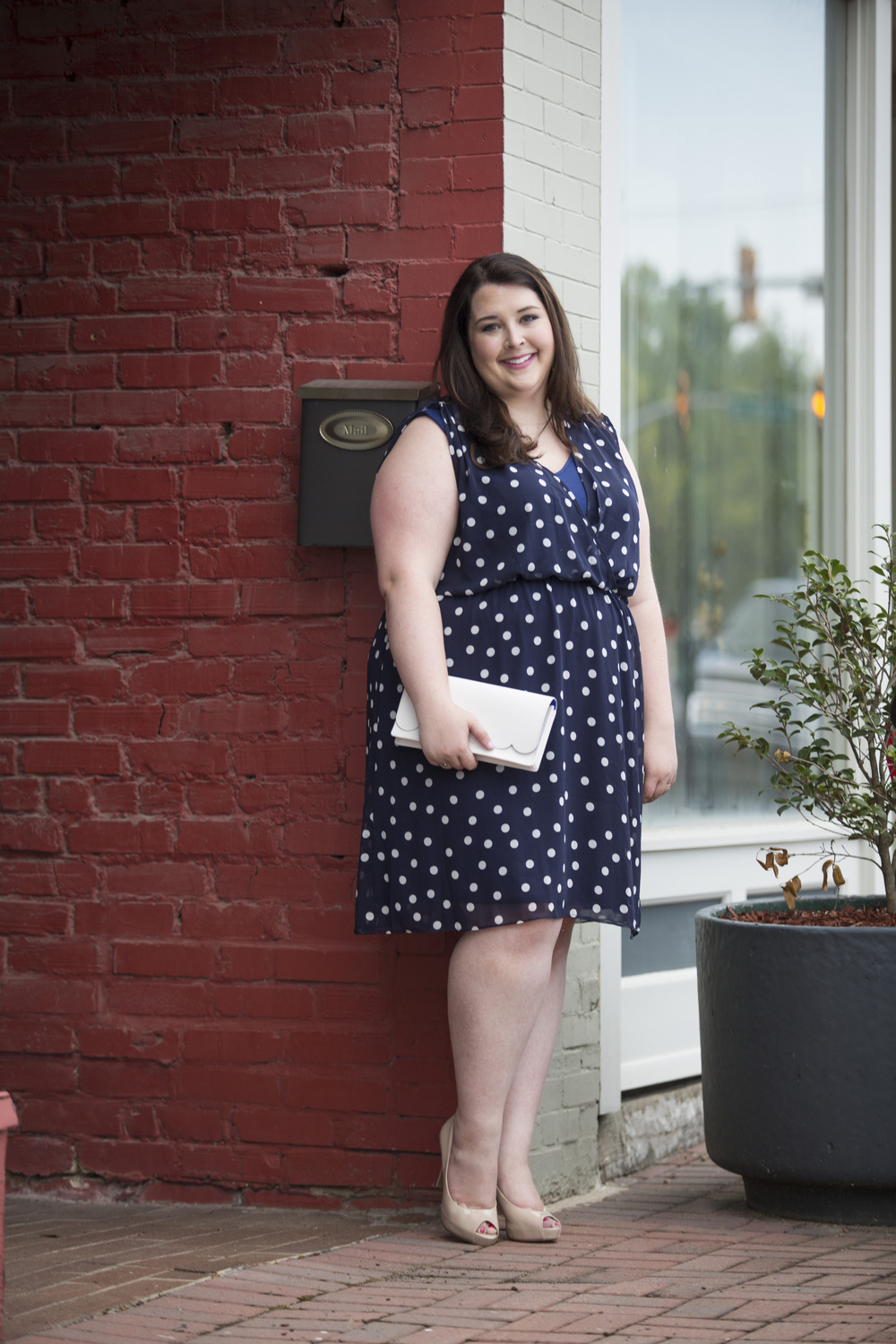 Plus Size Street Style Navy Polka Dot Dress Wedding Guest 2.jpg
