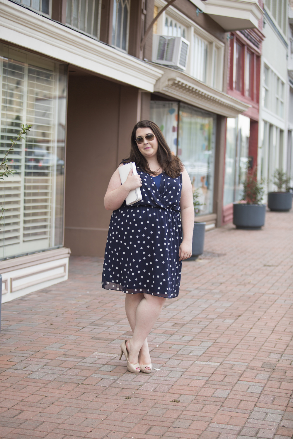 Plus Size Street Style Navy Polka Dot Dress Wedding Guest 3.jpg