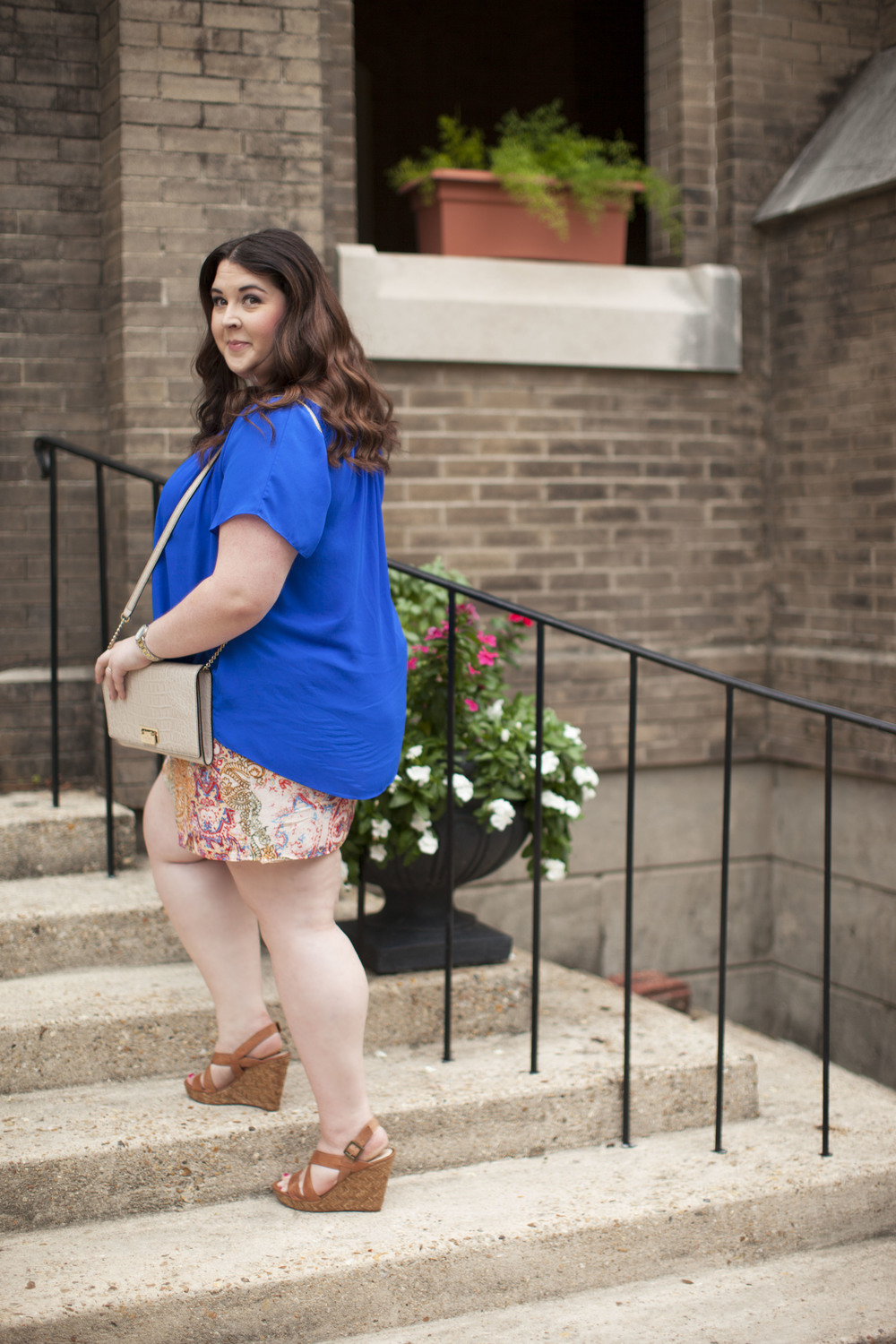 plus size street style royal blue top plus size linen shorts 008 copy.jpg