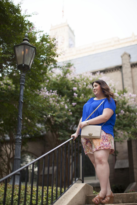 plus size street style royal blue top plus size linen shorts 006.jpg