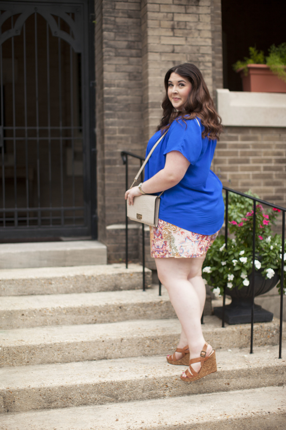 plus size street style royal blue top plus size linen shorts 009 copy.jpg