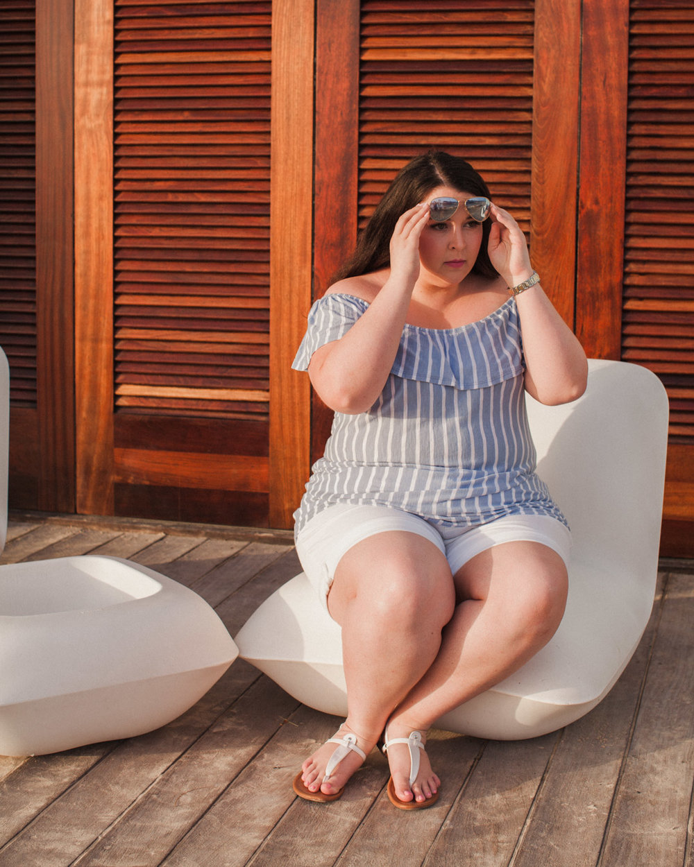 Plus Sized Blue Off The Shoulder Shirt and White Shorts.jpg