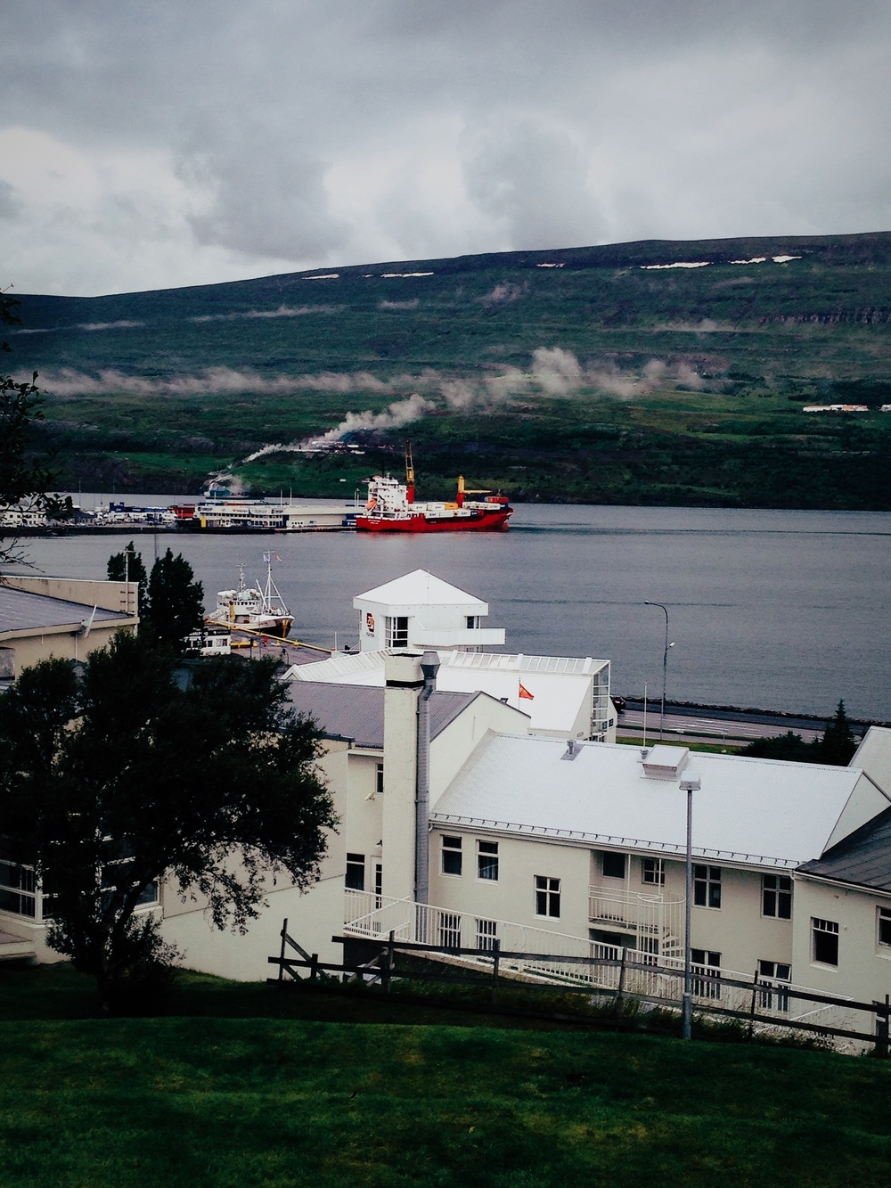 Akureyri on a gray sky day