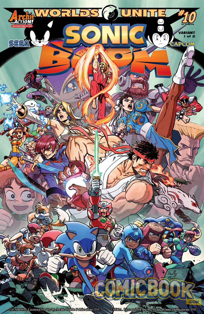 Variant cover I did for Sonic Boom #10.  My first work for Archie, and, man, it was A LOT of fun.  I never considered I'd have the chance to draw draw all these video game characters I loved as a kid, Sonic, Mega Man, Guile or Chun Li.  Once this project came along I just had to jump at the chance!   http://comicbook.com/2015/04/10/exclusive-archie-comics-first-look-sonic-boom-10/#Image2