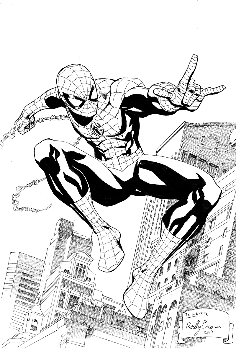 Here's a drawing of Spider-Man I did for my nephew Levon.