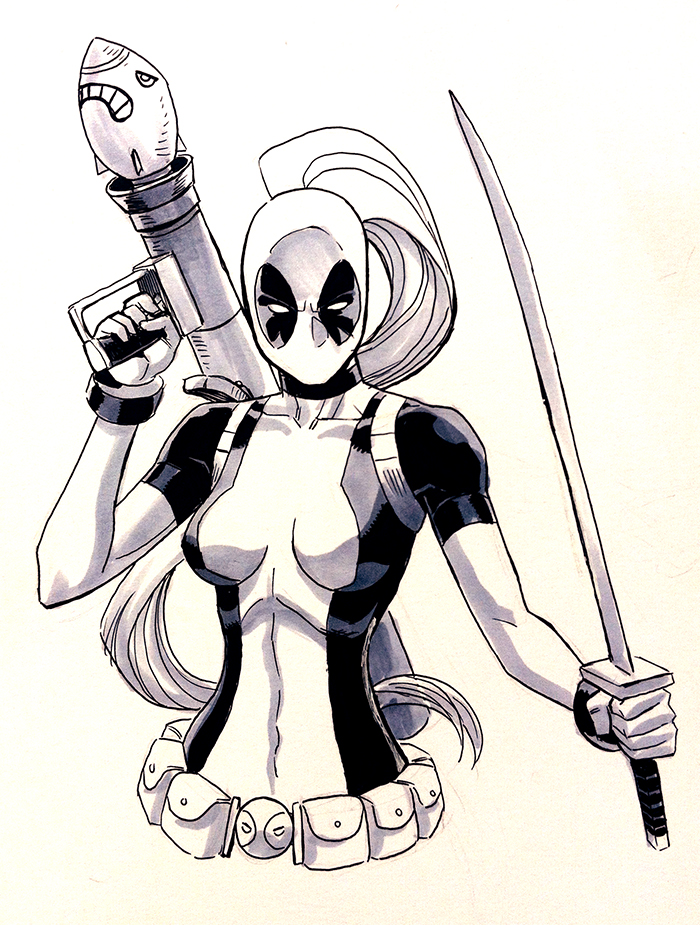 Lady Deadpool.  No matter what dimension s/he's from, Deadpool's always sexy ;)