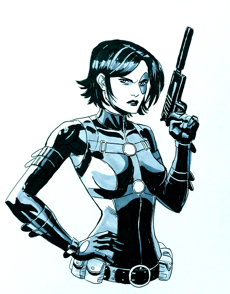 Domino.    Another commish from Planet Comicon.  It had been a while since I drew this lucky lady!
