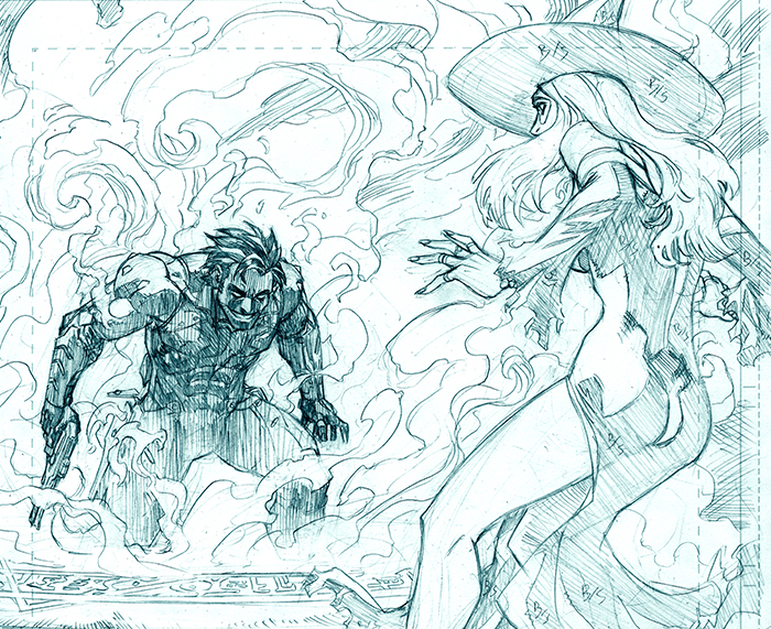 Lobo faces off against Vrexia the Space Witch from Lobo #5