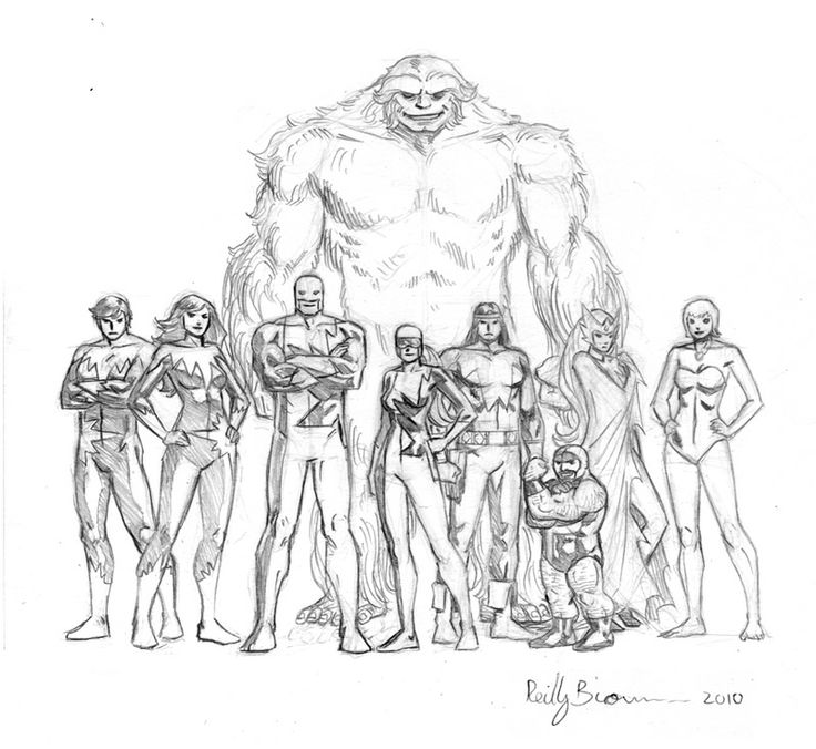 I drew this a few years ago when I was working on an Alpha Flight 1-shot. I think this was to show the characters relative heights, based on their stats in the Official Marvel Handbook. This could be a useful guide for any future artists who work on these characters! marvel1980s: Alpha Flight by Reilly Brown