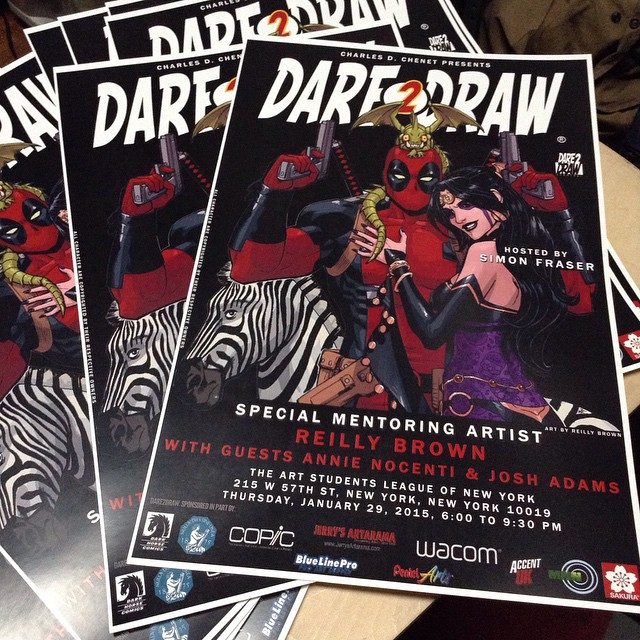 dare2draw: It's officially epic, now! 😃 Second poster is ready to go out for this week's #Dare2Draw at ASL with Reilly Brown, Annie Nocenti & Josh Adams! Hosted by Simon Fraser!!!