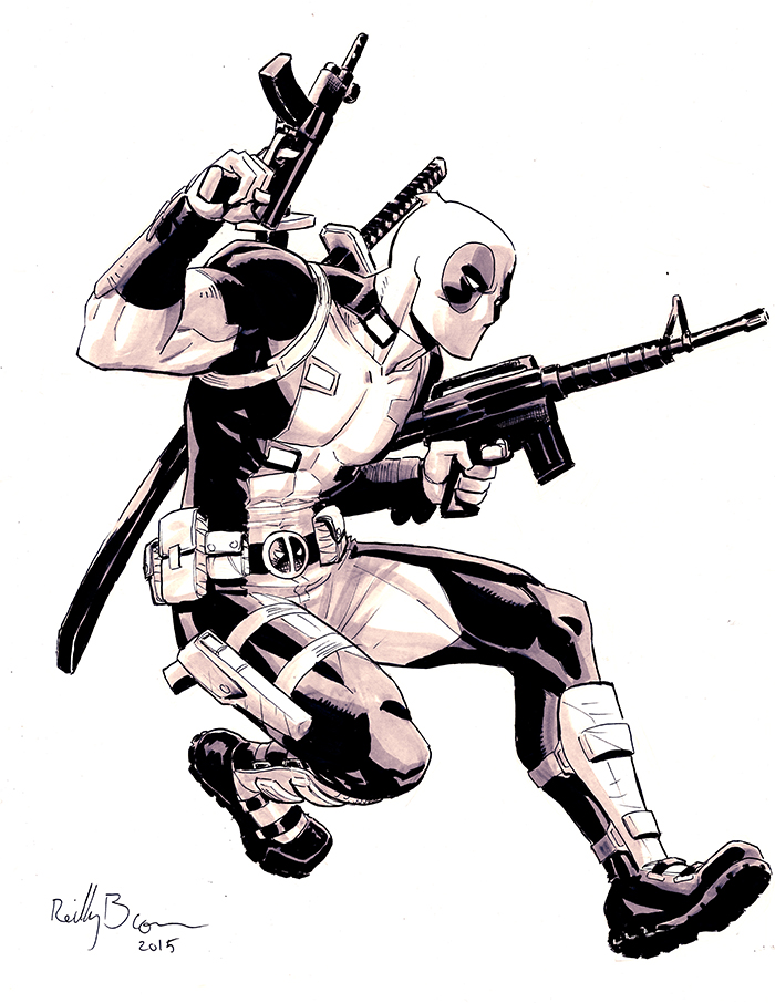 Here's a Deadpool commission I drew at Albuquerque Comic Con. After all these years of drawing Deadpool's weapons I can finally draw a half decent M16 and MP5 from memory.  Took me long enough!