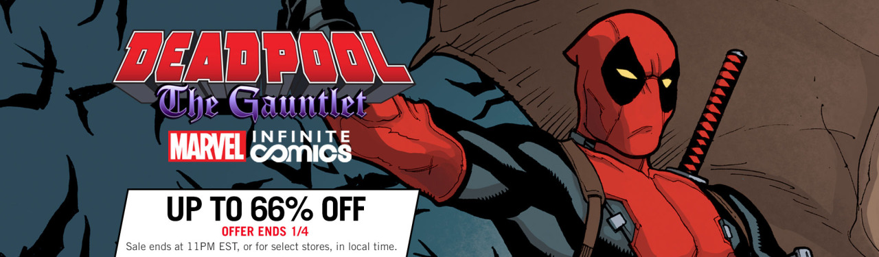 Whoa! Just spotted this Deadpool: The Gauntlet sale over at Comixology. I'm glad this series has been so well recieved– It was even named their best Digital First comic of 2014! If you missed it the first couple times, check it out now