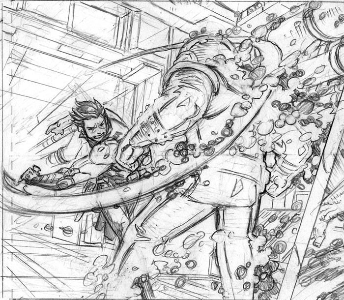 Hot Lobo action! These are some pencil roughs from Lobo #3