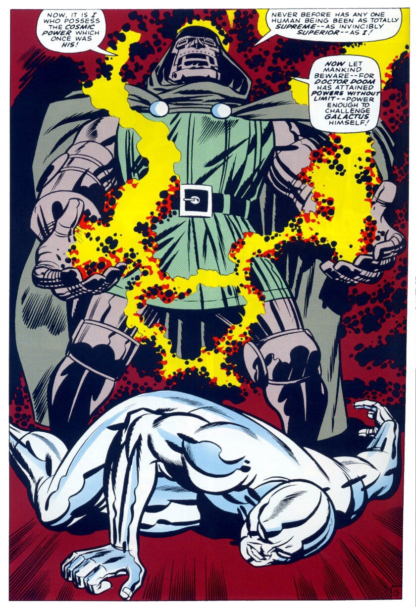 This is one of the most bad ass moments in comic book history.    brianmichaelbendis :     Doctor Doom and the Silver Surfer by Jack Kirby