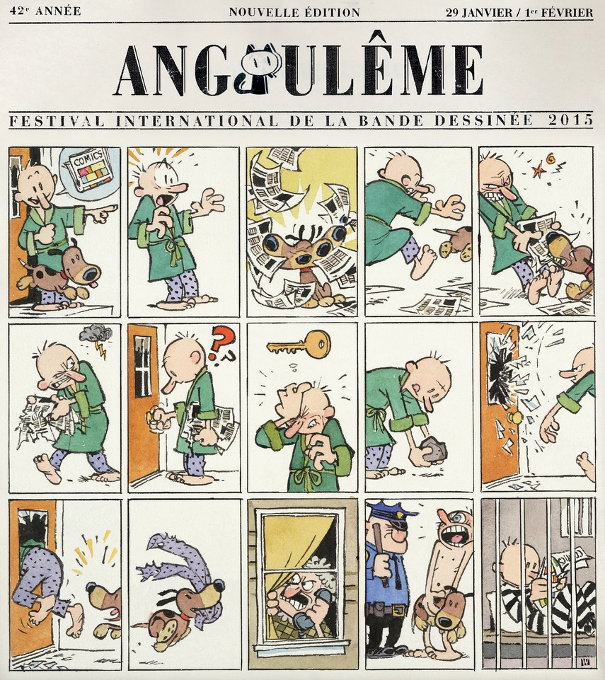 benbasso :     Wow! A new comic/poster by  Bill Watterson  for the French Angoulême Festival! Love it!     Love seeing new stuff from the master!
