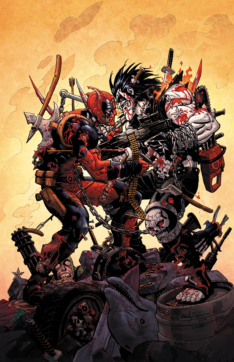 Lobo vs Deadpool.  Ten Ton Studiomate Jeremy Colwell did me the honors of coloring this bad boy up.    When you go to the comic store today remember to pick up the brand new Lobo #2, and the collected edition of Deadpool: Dracula's Gauntlet from last week!