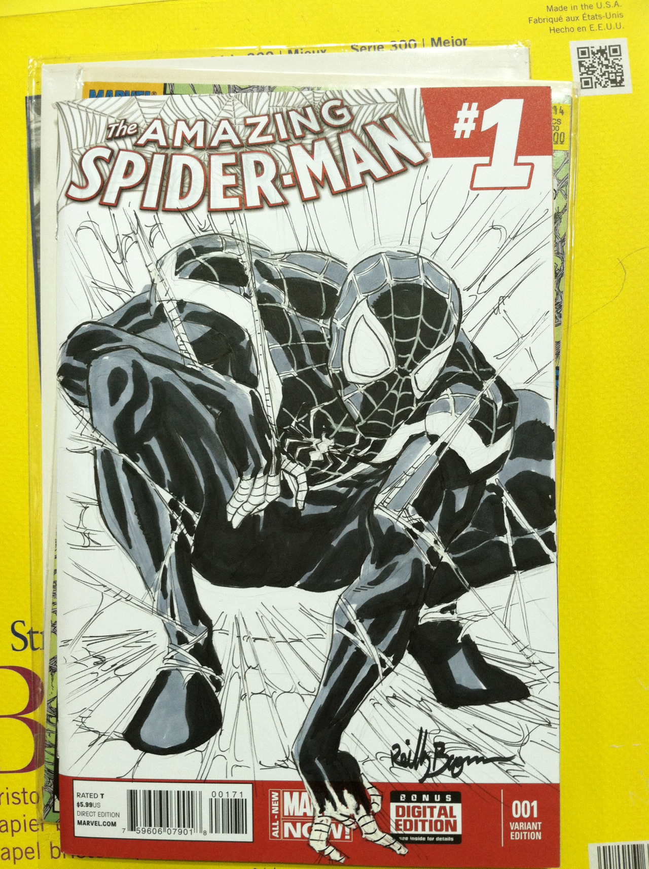 Miles Morales in the classic pose form McFarlane's Spider-Man #1
