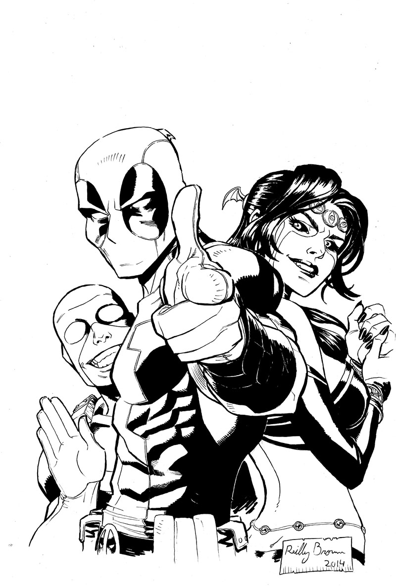 Here's a drawing of Deadpool, Shiklah and Bob, which will be up for auction at New York Comic Con, for their 4th annual auction to benefit St Jude's Children's Research Hospital.  More info here–  http://www.newyorkcomiccon.com/en/Events/NYCC-Charity-Art-Auction/