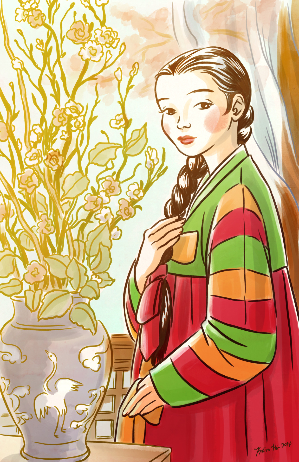"banchancomic :     What is the Korean girl chef wearing in my comic? It's called Han-Bok, a traditional Korean dress. This particular top with striped sleeves is called ""Sek-Dong-Jeh-Go-Ri""  which is worn by girls on happy special occasions. The silk tie at the end of her braid is called ""Deng-Ki"".  It is worn by  young ladies yet to be married. This tie was the sign for the town's bachelors to know which girls were available. Once the ladies got married, they turned the braid into a bun and wore an ornate pin though the bun.    Han-Bok is such a beautiful costume. It makes the woman look so graceful but unfortunately it is so uncomfortable to wear. I have no idea  why they made the skirt to be tied so high, right on the breast line. Ouch!   It's hard to see anyone wearing Han-Bok in Korea anymore, except for the national holidays, weddings and funerals. I remember wearing them when I was a little girl visiting the elderly relatives in Korean new years and Chu-Suk, the Korean thanksgiving. I couldn't wait to take it off because it was so itchy and uncomfortable. The only way for this dress to stay put was to tie it very tightly right underneath my armpit and I could hardly breath, let alone eating any of those wonderful Korean holiday food.   There are many Korea dramas based on the Cho-Sun (Korean dynasty 1300s- 1800s) period and all the characters wear such a beautiful ornate Han-Bok. I'm a total sucker for those dramas. I've recently heard about this K drama called ""Dae-Jang-Kum"" which is about a female chef in the Cho-Sun era palace. It's been translated as ""The Jewel in the palace"" in the other Asian countries and apparently it was a hugh hit a few years ago. I don't watch much K dramas these days so I was completely oblivious to it until one of my Korean teacher told me to watch it since I'm doing a comic about Korean food. Korean Food drama full of beautiful Han-bok clad characters?? I was sold instantly and  ordered the entire set online, I can't wait to watch it!         Robin Ha's new comic is beautiful.  Also, delicious!"