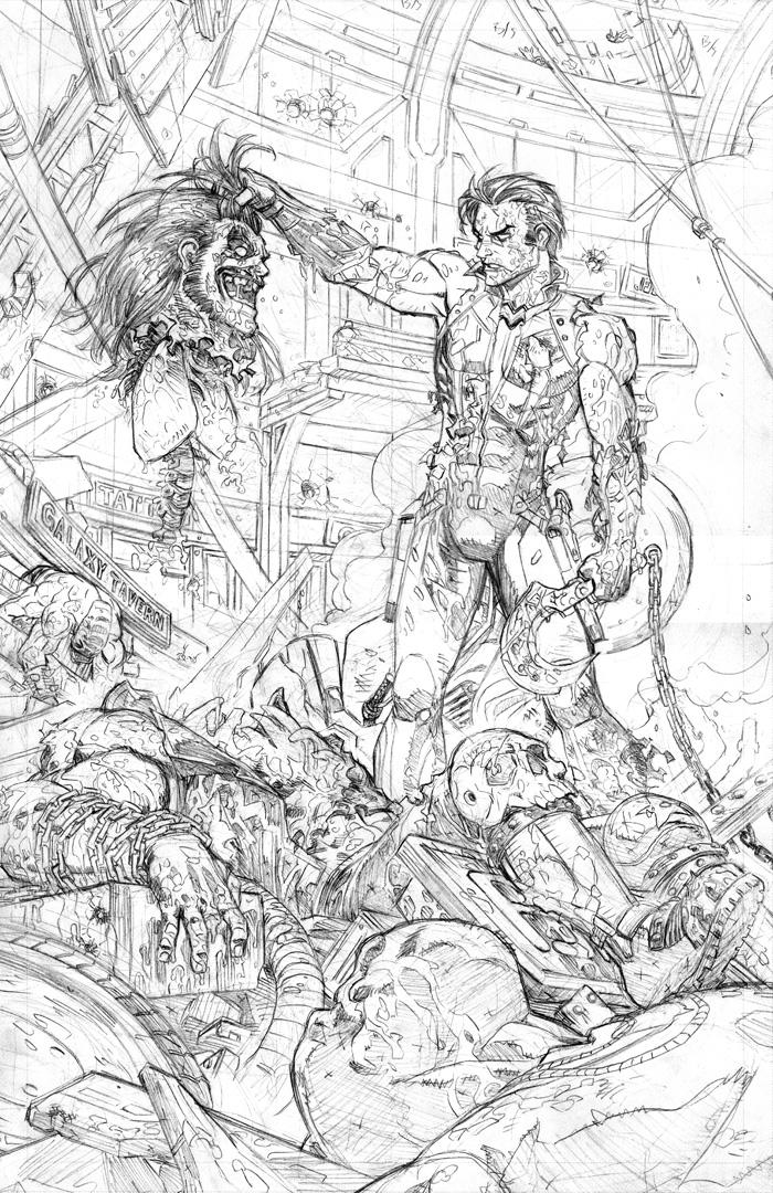 Some Lobo pencils.  This image was used for the solicits for issue #2, but it's actually a page from issue 1.   I'm certainly having some fun with the action scenes in this series :) I've got to say, the shit I find when I'm looking for reference of disembodied lungs has kind of been giving me nightmares… And I plan on sharing those nightmares with all of you!