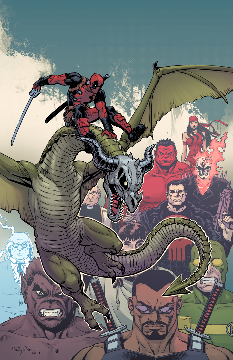 Here's a look at the cover of next week's Deadpool: Dracula's Gauntlet #6. Who doesn't love to see Deadpool riding his faithful zombie dragon, Foul-cor?   And don't forget– Come see me later today, from 6-9, where I'll be signing at Forbidden Planet in NYC!   More info here .