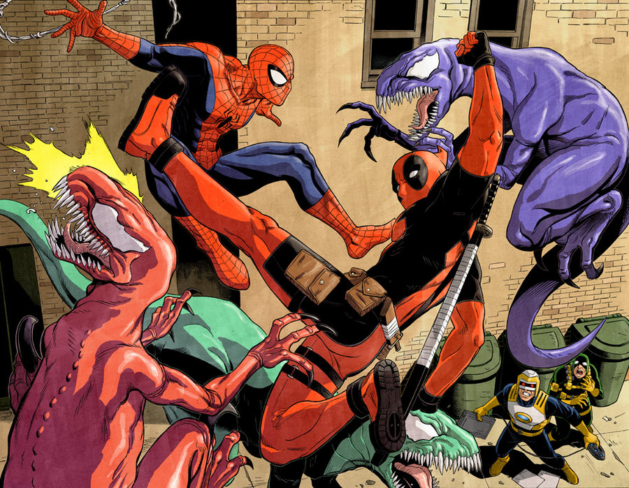willyoumareepme :     Spidey and Deadpool vs Venomosaurs by   ReillyBrown