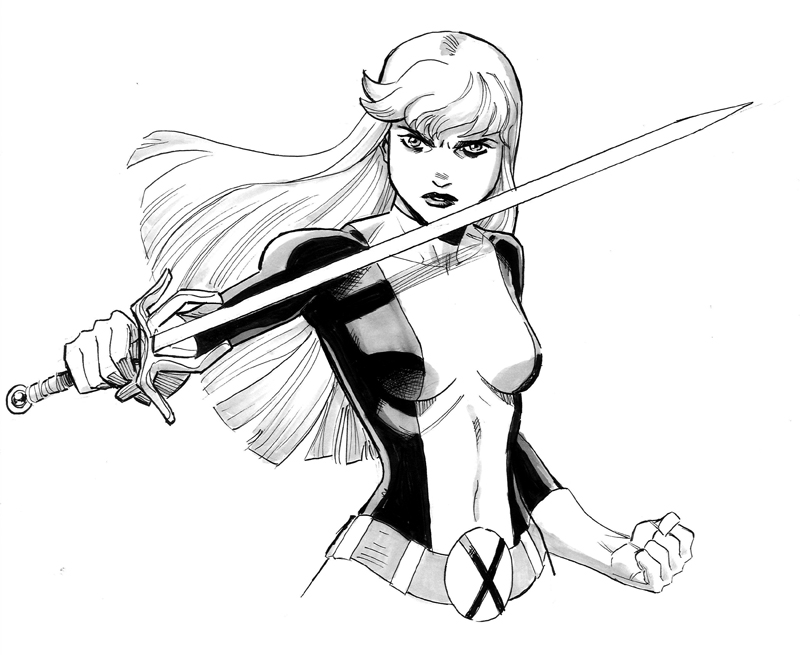 Magik in her New Mutants gear.    I'll be at NYCC: Special Edition this weekend!  I'll be selling comics and prints, and doing commissions as usual.  Hit me up in artist's alley at table  B16 !   Here's more  info.    Also, for anyone going to Heroes Con in North Carolina next week, I'll be there too!  But I don't have a table.  I'll just be wandering the floor enjoying the show as a guest for a change.  But that doesn't mean I can't do drawing for you guys if you want them!  Hit me up before hand, at reillybrownsketches@yahoo.com and we'll arrange something, or if that fails, I'll probably be crashing at my boy Khary Randolph's artist alley table.  One way or another we can figure something out. More info on Heroes Con–  http://www.heroesonline.com/heroescon/   My sketch prices are  $50 for a head sketch  $100 for a half figure (like the one above) $200 for a full figure  Hope to see you at one convention or the other!