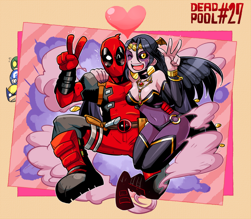 Some awesome Deadpool and Shiklah fanart.  Why's Wolverine so mad??     rariatoo :     deadpool & shiklah