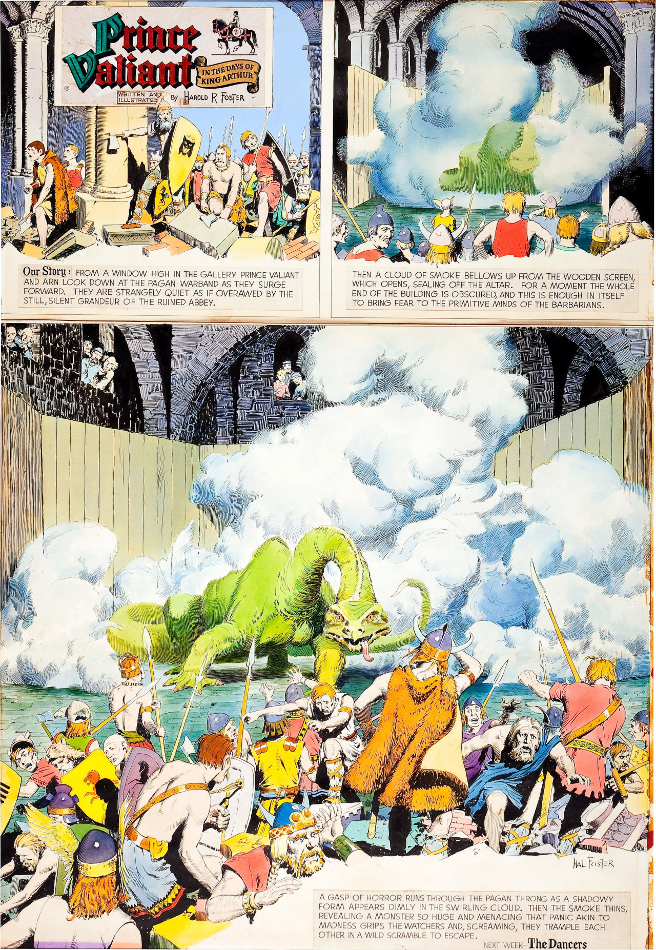 thebristolboard: Original hand-colored Prince Valiant Sunday Strip by Hal Foster, first published by King Features Syndicate, March 25, 1961.
